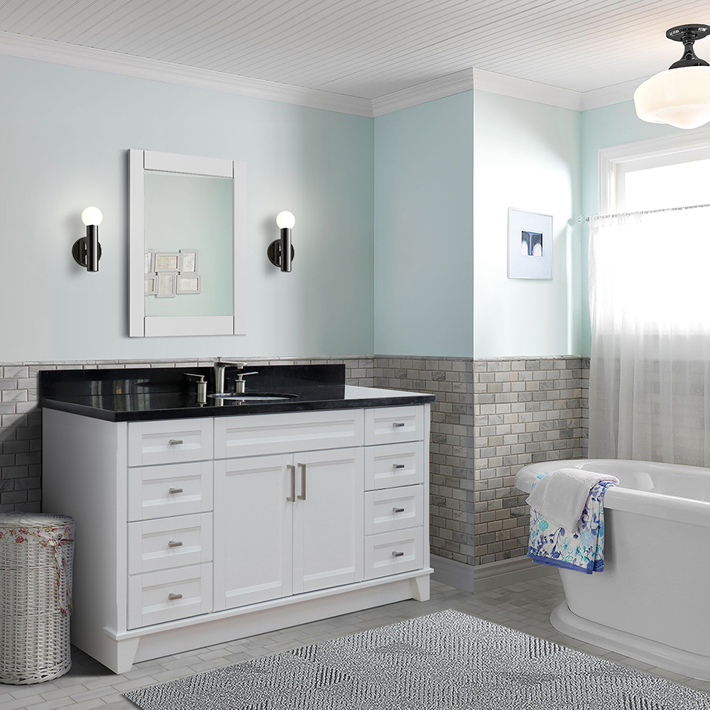 "61"" Single Sink Vanity in White Finish with Countertop and Sink Options"