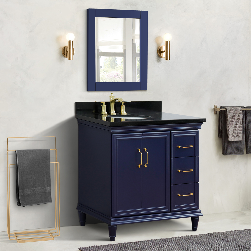 "37"" Single Vanity in Blue Finish with Countertop and Sink Option - Left door/Left sink"