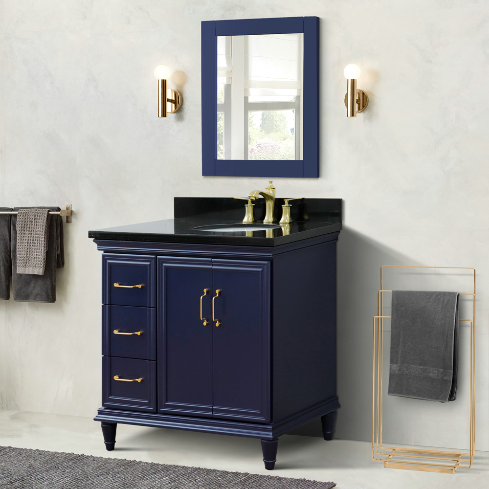 "37"" Single Vanity in Blue Finish with Countertop and Sink Options - Right door/Right sink"