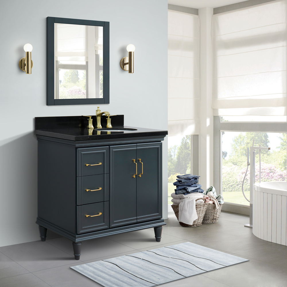 "37"" Single Vanity in Dark Gray Finish with Countertop and Sink Options - Right door/Right sink"