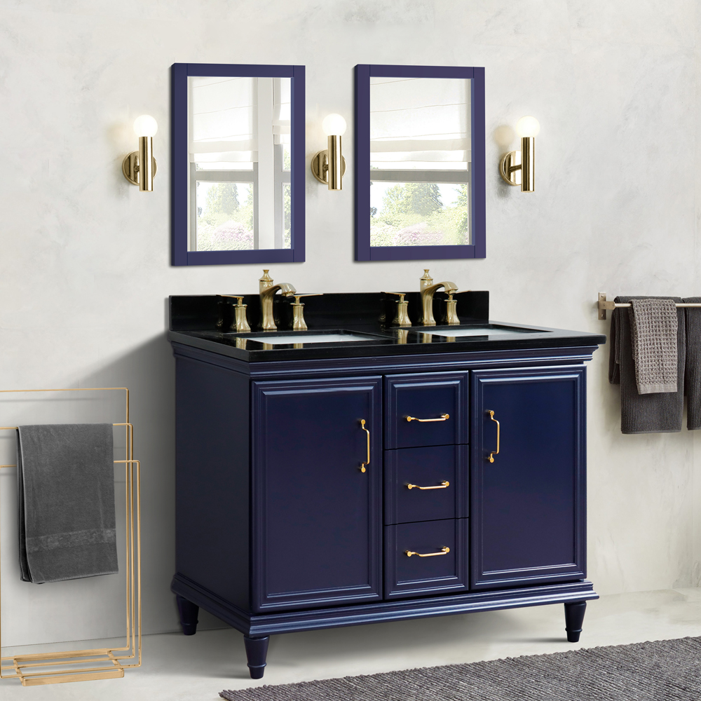 "49"" Double Vanity in Blue Finish with Countertop and Sink Options"