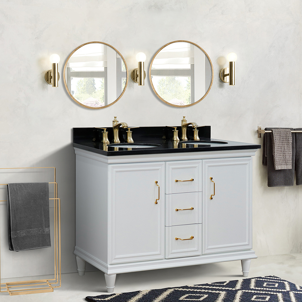 "49"" Double Vanity in White Finish with Countertop and Sink Options"