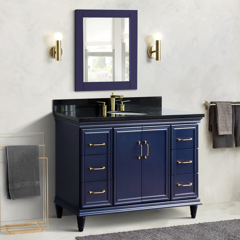 "49"" Single Vanity in Blue Finish with Countertop and Sink Option"