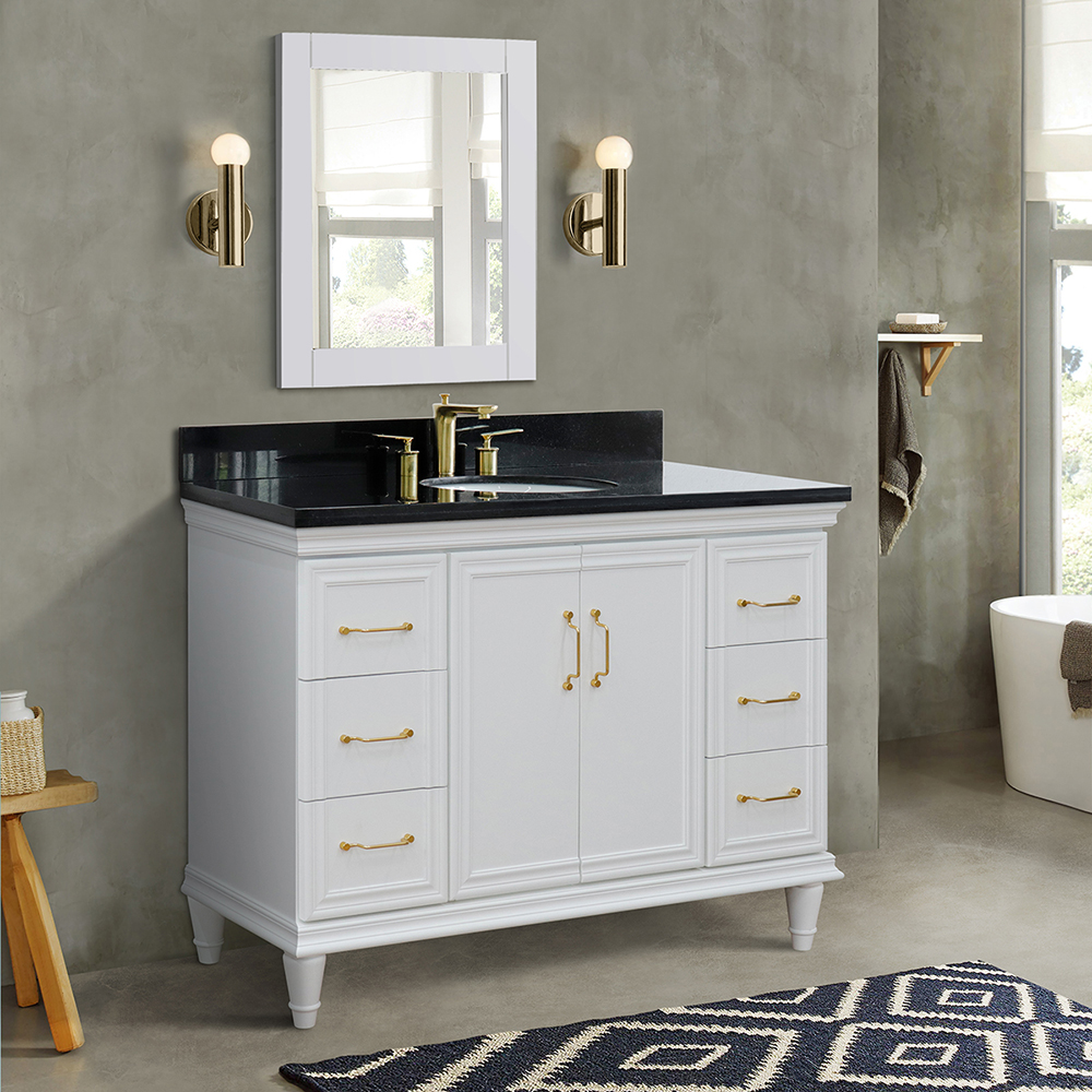 "49"" Single Vanity in White Finish with Countertop and Sink Option"