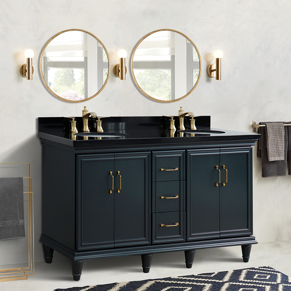 "61"" Double Sink Bathroom Vanity in Dark Gray Finish with Countertop and Sink Options"