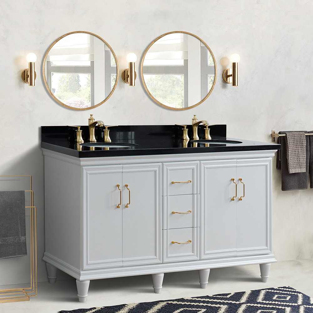 "61"" Double Sink Bathroom Vanity in White Finish with Countertop and Sink Options"