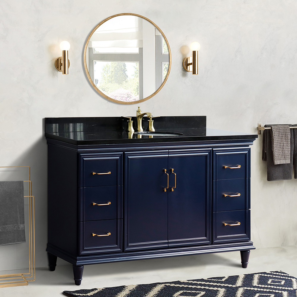 "61"" Single Sink Bathroom Vanity in Blue Finish with Countertop and Sink Options"