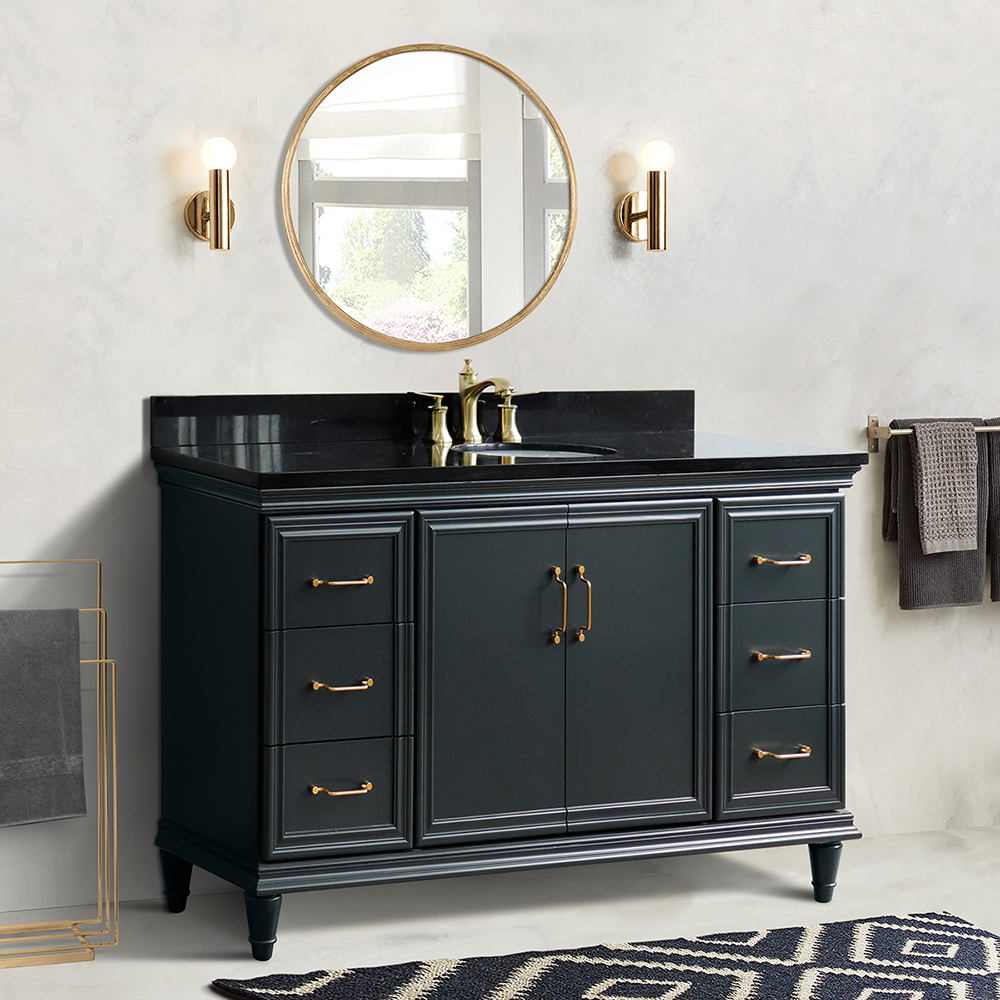 "61"" Single Sink Bathroom Vanity in Dark Gray Finish with Countertop and Sink Options"