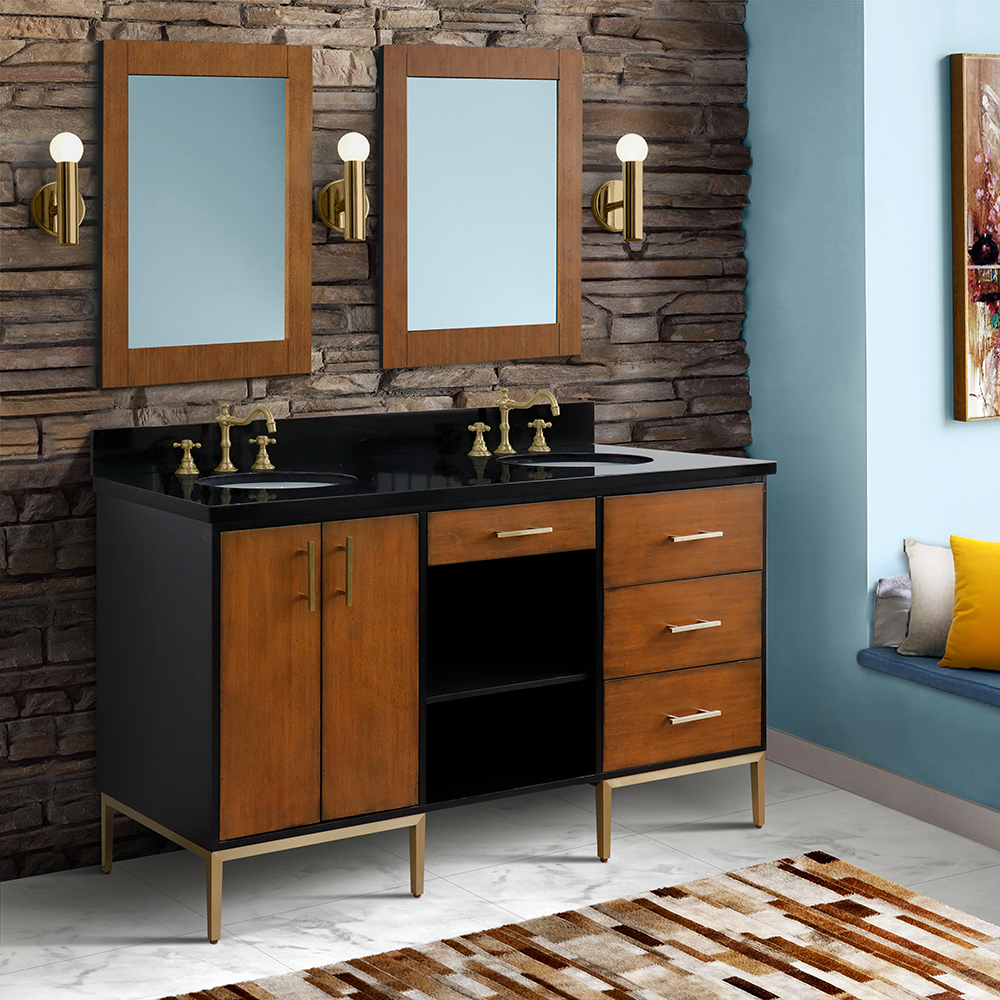"61"" Double Sink Bathroom Vanity in Walnut and Black Finish with Countertop and Sink Options"