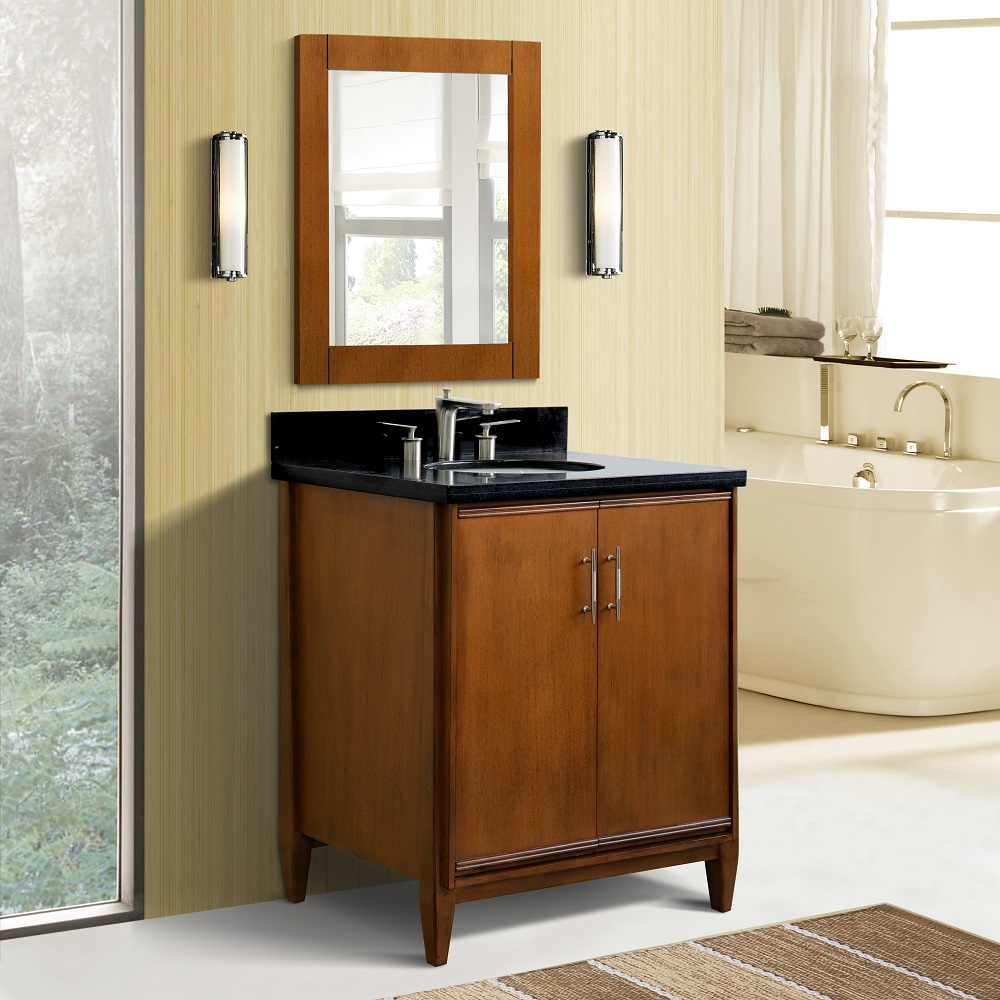 "31"" Single Sink Vanity in Walnut Finish with Countertop and Sink Options"