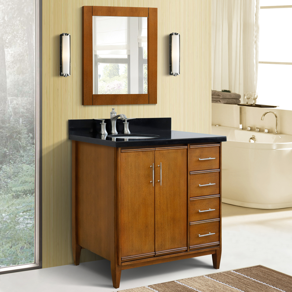 "37"" Single Vanity in Walnut Finish with Countertop and Sink Options - Left door/Left sink"