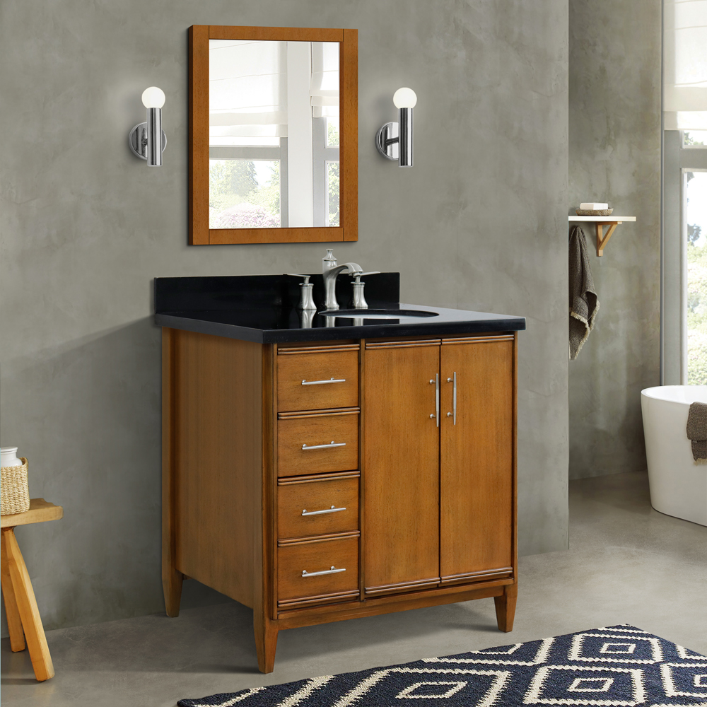 "37"" Single Vanity in Walnut Finish with Countertop and Sink Options - Right door/Right sink"