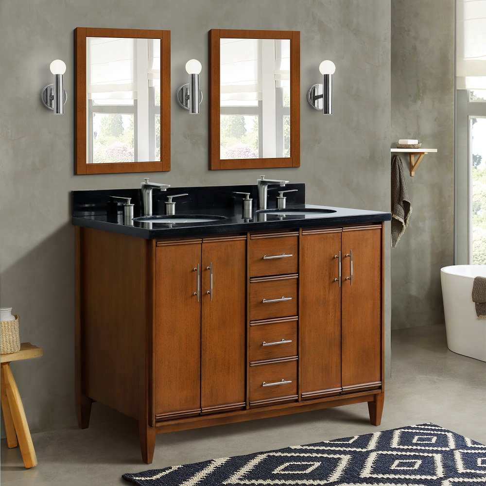 "49"" Double Sink Vanity in Walnut Finish with Countertop and Sink Options"