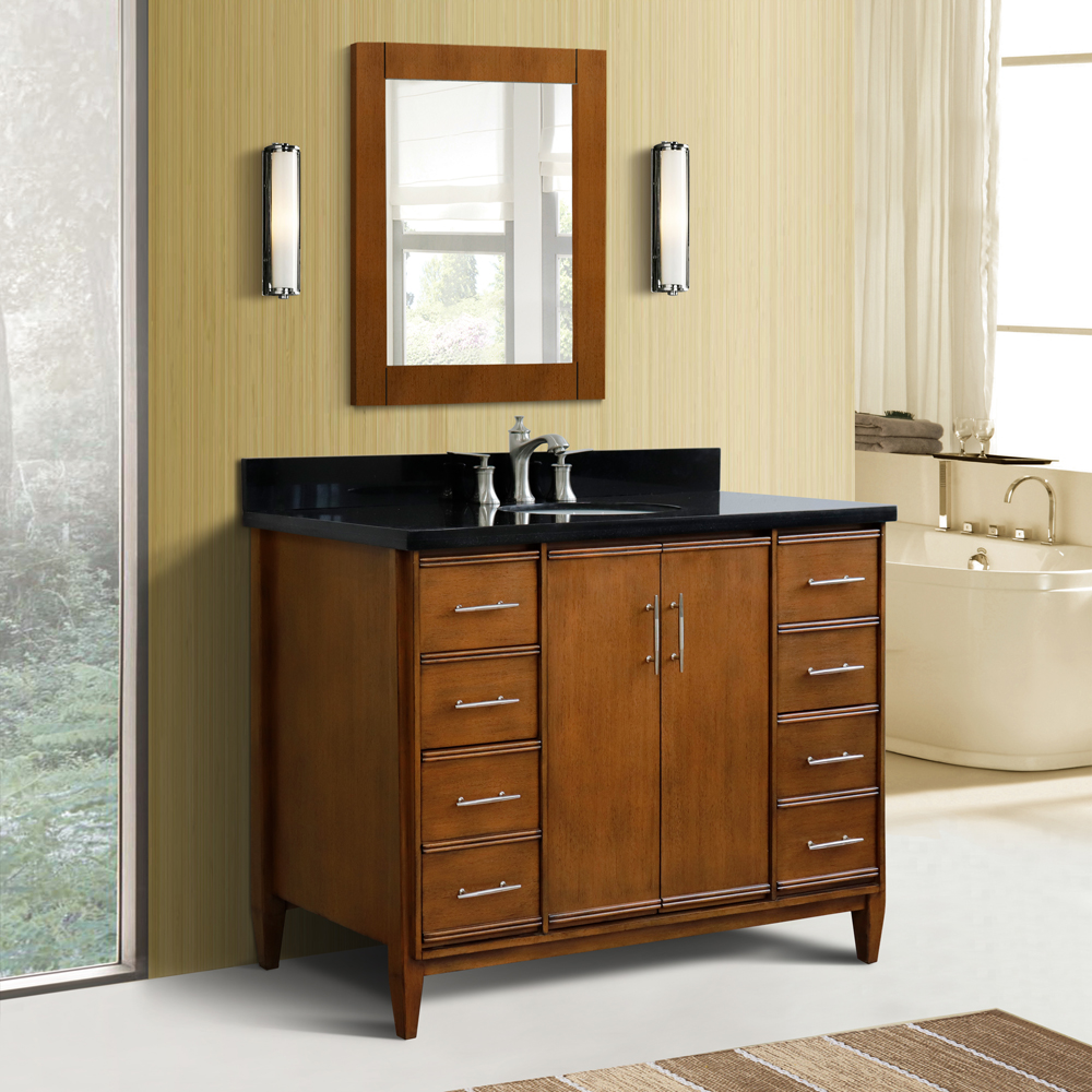"49"" Single Sink Vanity in Walnut Finish with Countertop and Sink Options"