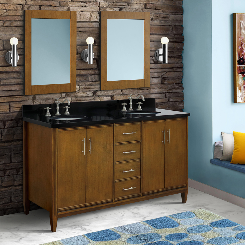 "61"" Double Sink Vanity in Walnut Finish with Countertop and Sink Options"