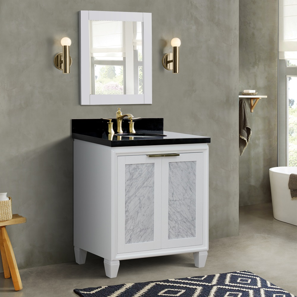"31"" Single Sink Vanity in White Finish with Countertop with Sink Options"