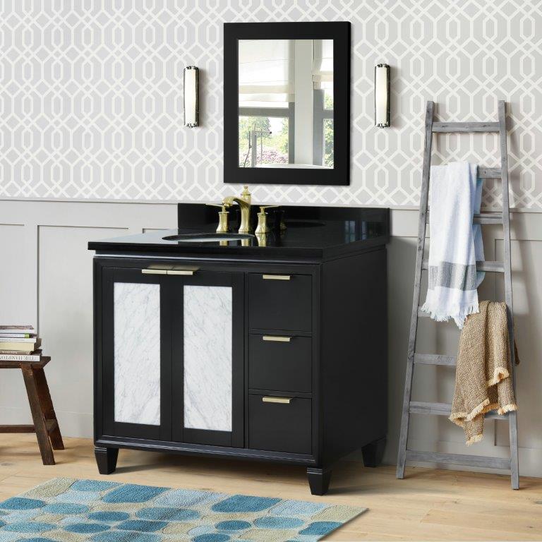 """43"""" Single Vanity in Walnut Finish with Countertop and Sink Options - Left door/Left sink"""