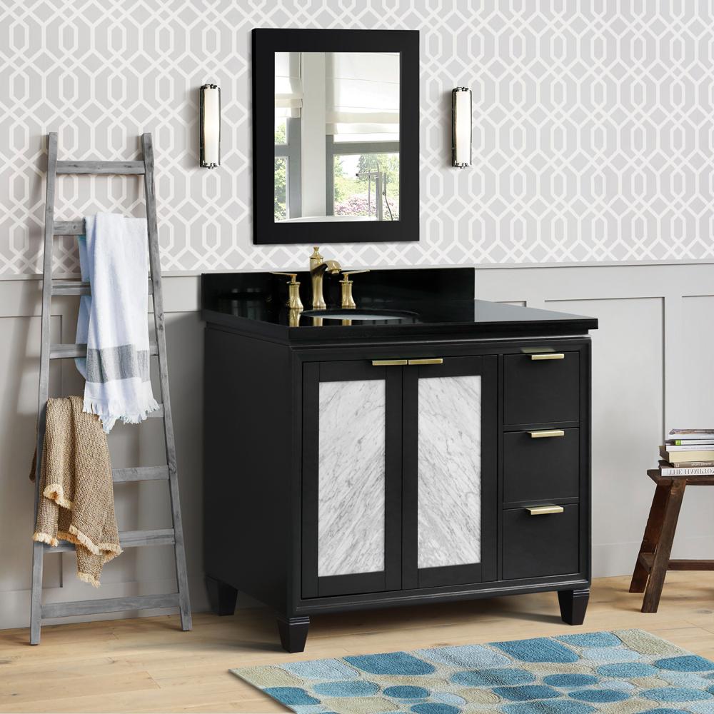 """43"""" Single Vanity in Dark Gray Finish with Countertop and Sink Options - Left door/Left sink"""