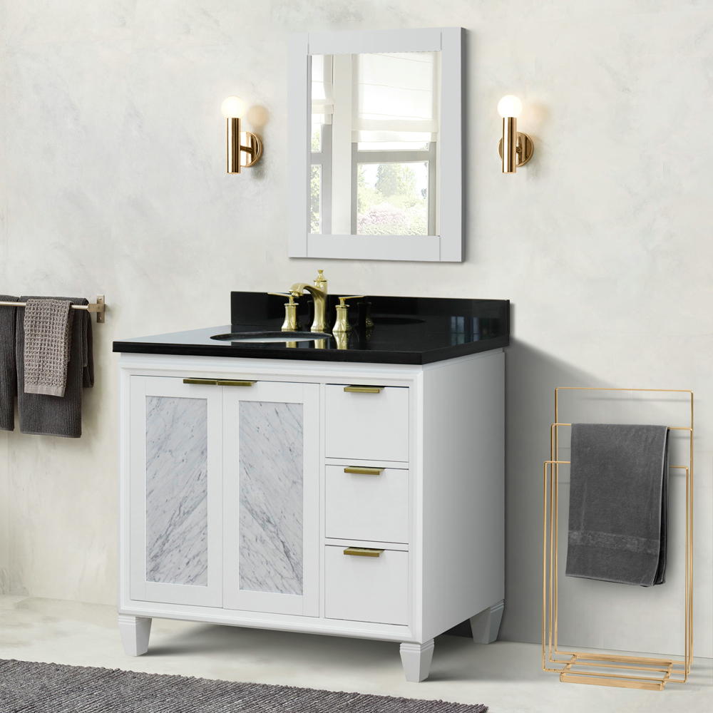 "43"" Single Vanity in White Finish with Countertop and Sink Options - Left door/Left sink"
