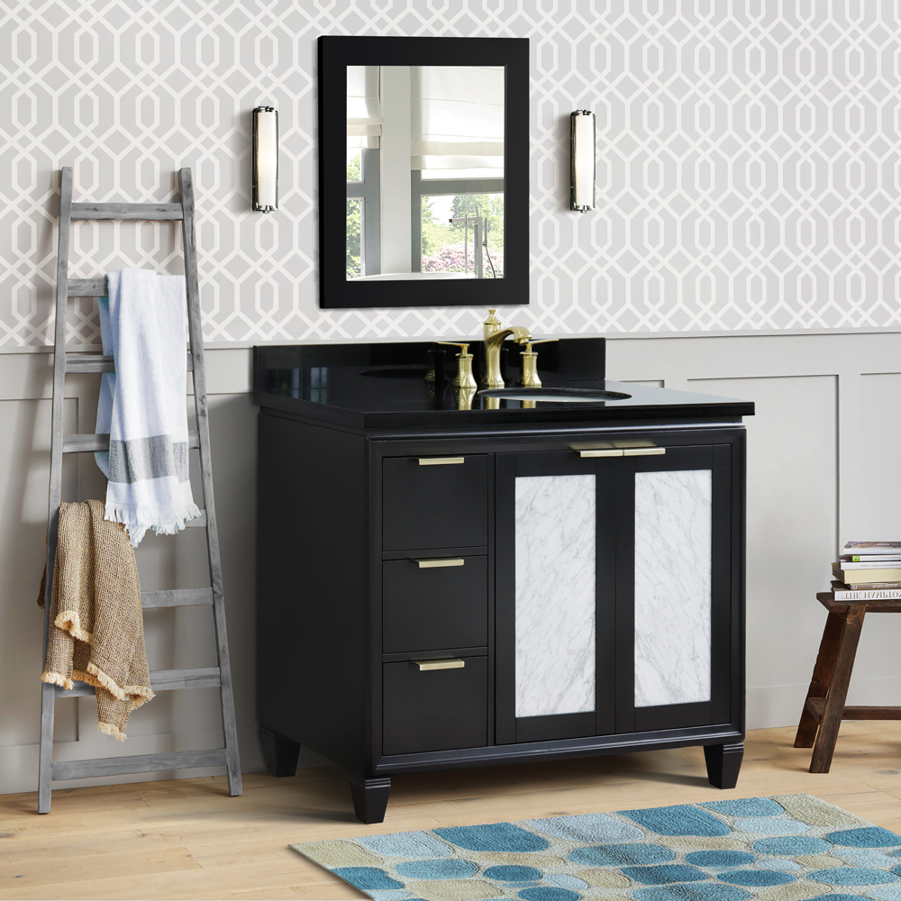 """43"""" Single Vanity in Black Finish with Countertop and Sink Options - Right door/Right sink"""