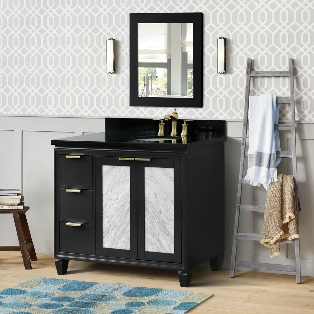 """43"""" Single Vanity in Dark Gray Finish with Countertop and Sink Options - Right door/Right sink"""