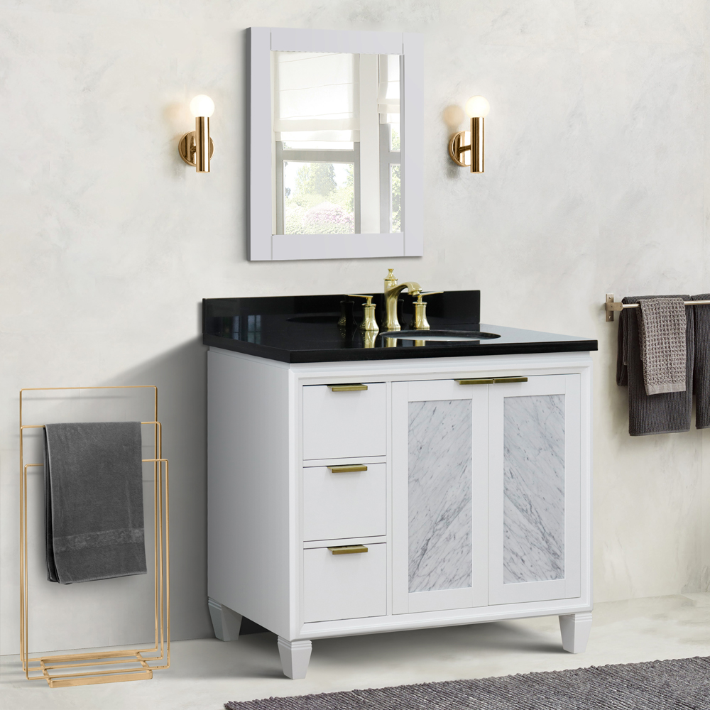 "43"" Single Vanity in White Finish with Countertop and Sink Options - Right door/Right sink"