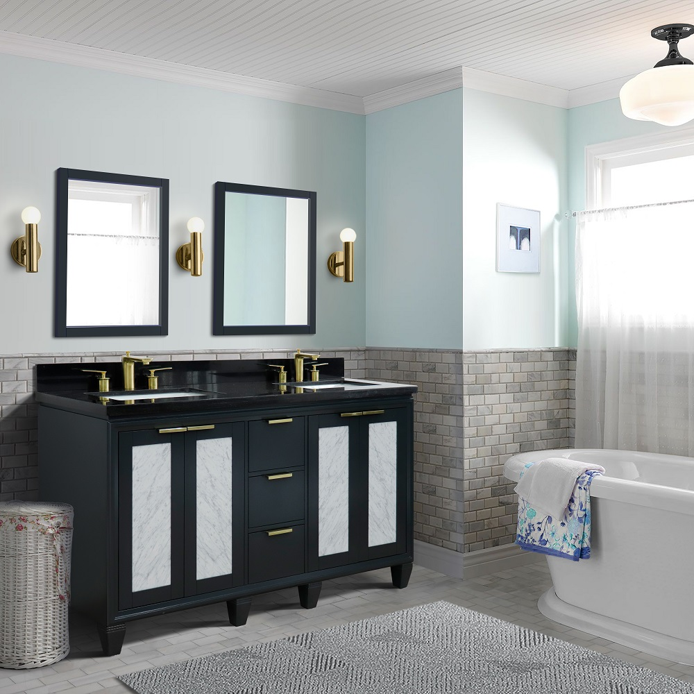 "61"" Double Sink Bathroom Vanity in Dark Gray Finish with Countertop and Sinks Options"