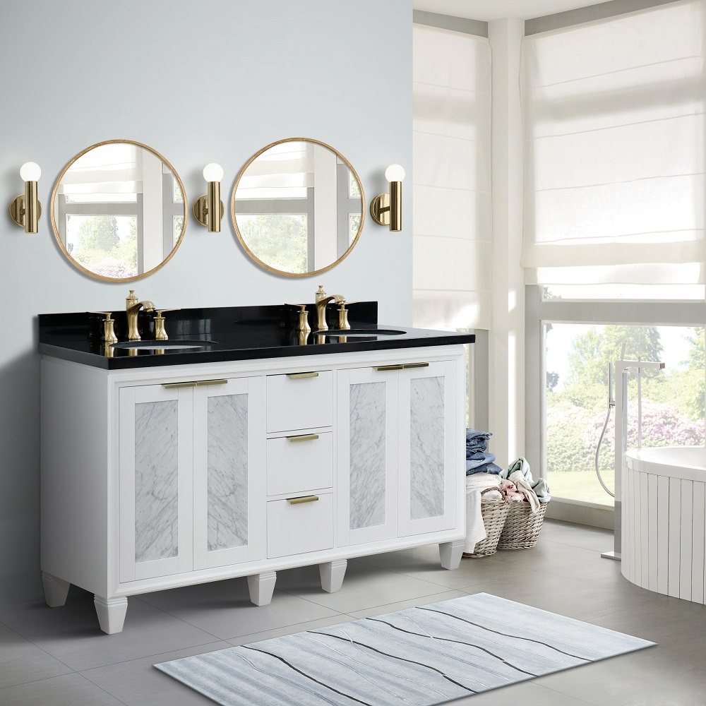 "61"" Double Bathroom Vanity in White Finish with Countertop and Sink Options"