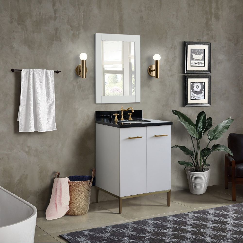 """25"""" Single Sink Bathroom Vanity in White Finish with Countertop and Sink Options"""
