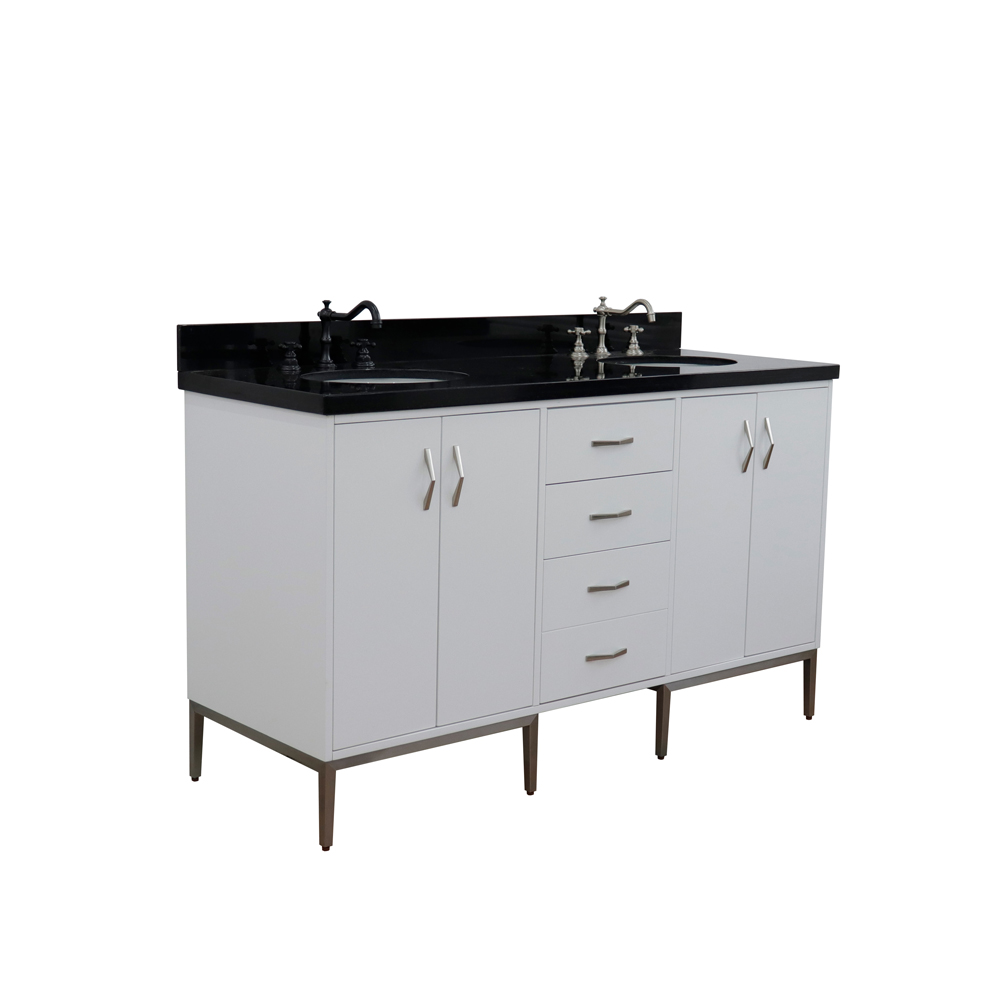 "61"" Double Sink Vanity in White Finish with Sink and Countertop Options"