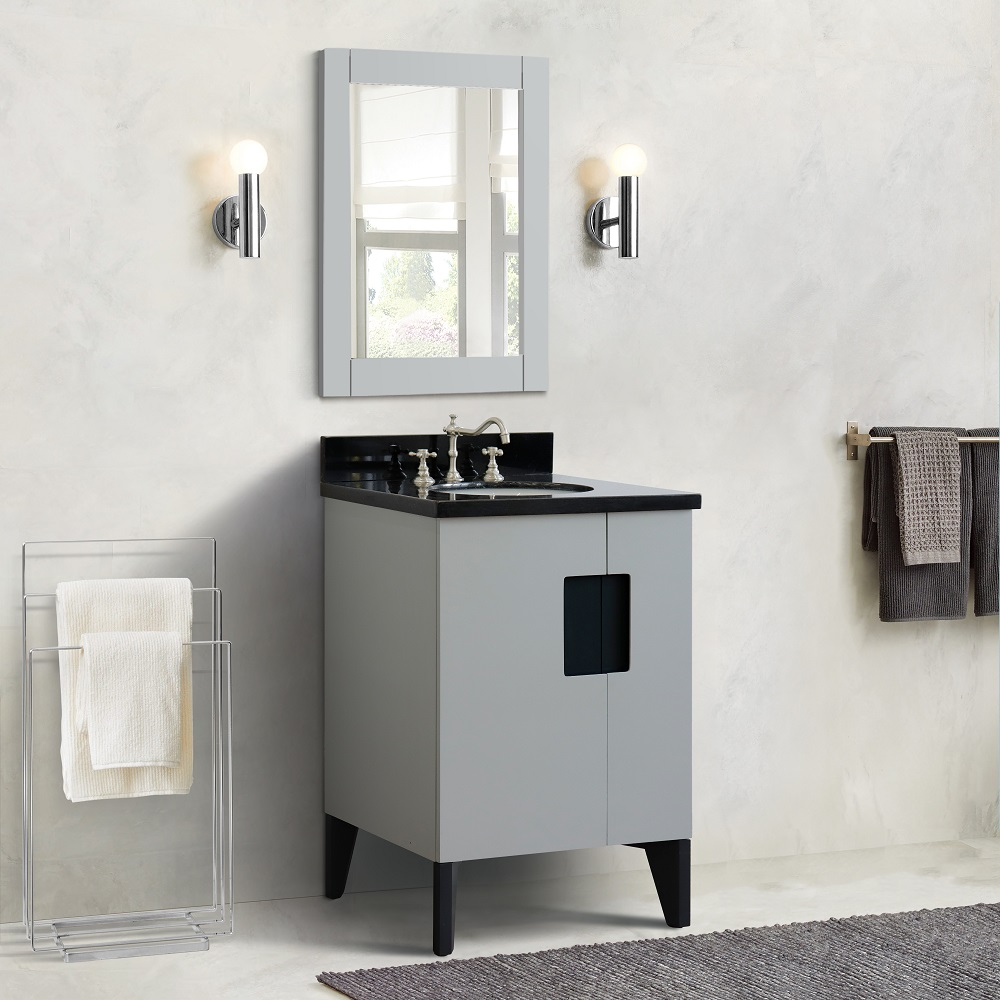 "25"" Single Sink Vanity in Light Gray Finish with Countertop and Sink Options"