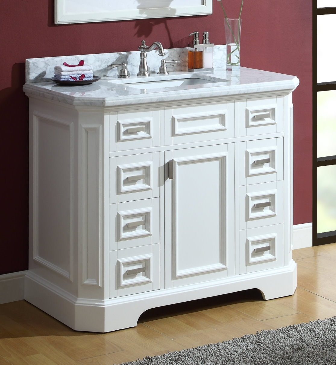 "Adelina 42"" Carrara Marble White Bathroom Sink Vanity"
