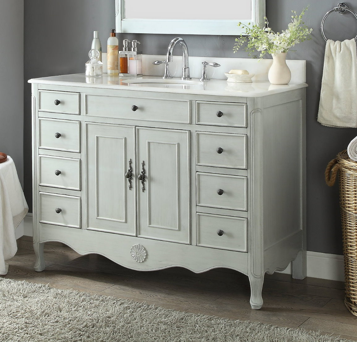 "46.5"" Distressed Grey Single Sink Bathroom Vanity with White Marble Countertop"