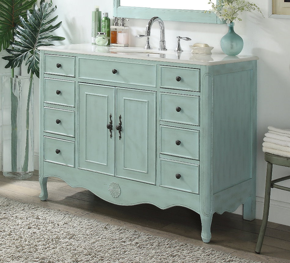 "46.5"" Distressed Light Blue Single Sink Vanity with White Marble Countertop"