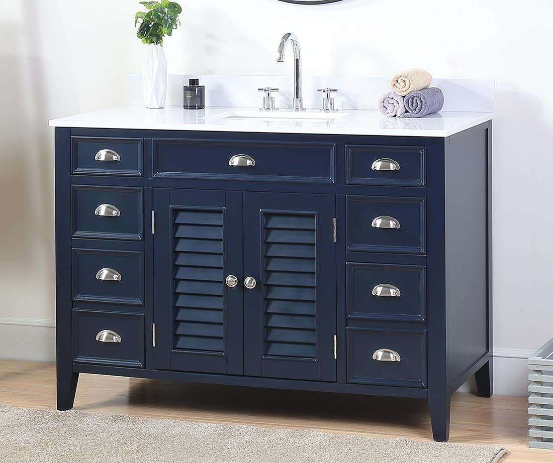 "47"" Navy Blue Quartz or Carrara Marble Top Single Sink Bathroom Vanity"