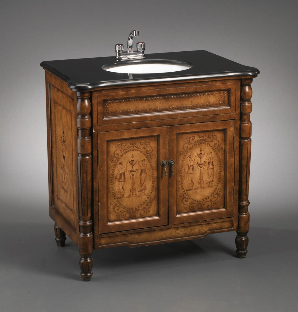 Antique Elements Collection Cabinet Sink Vanity, Hand Painted, Limited Edition