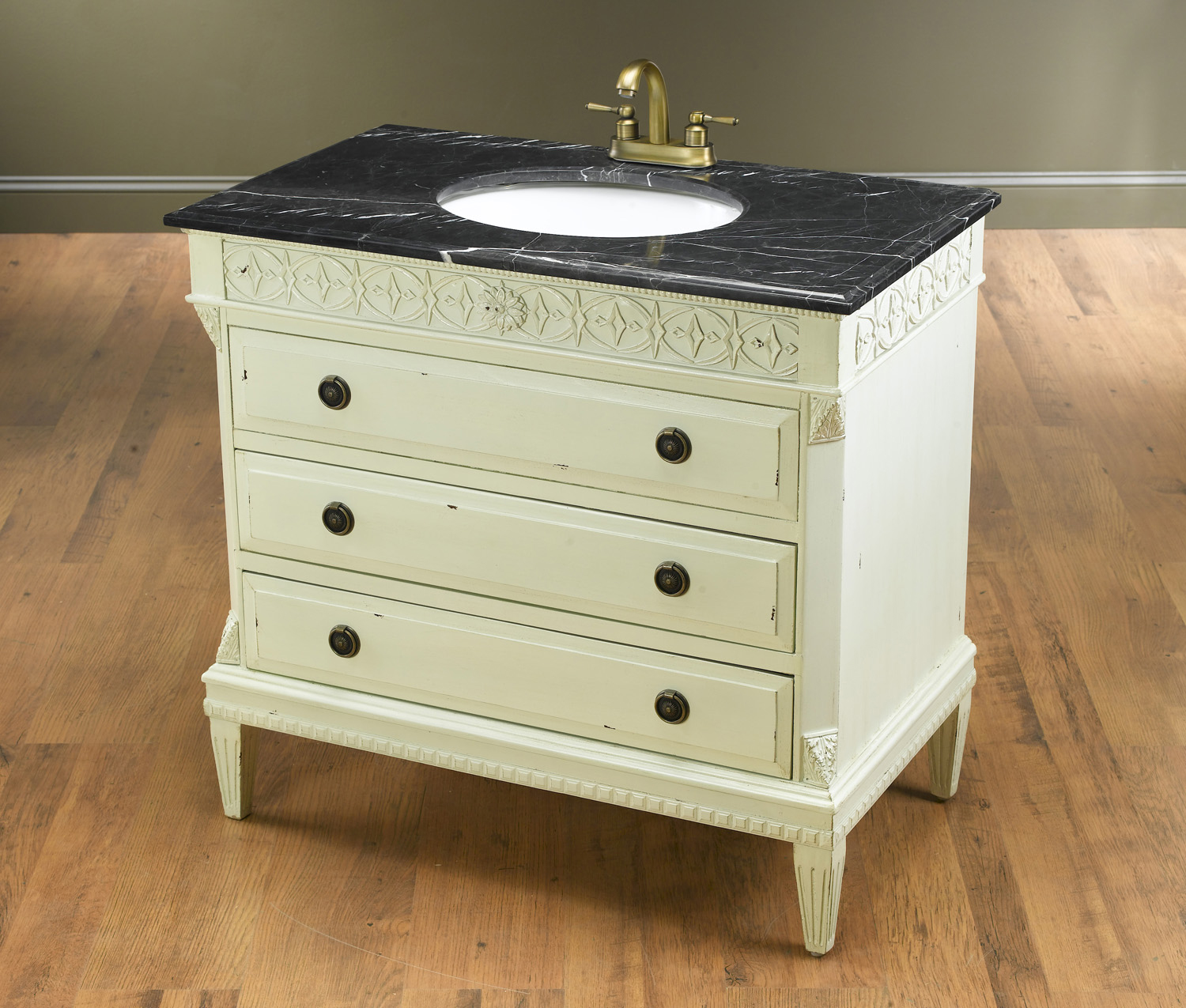 Antique Elements Collection, Distressed Rustic White Vanity