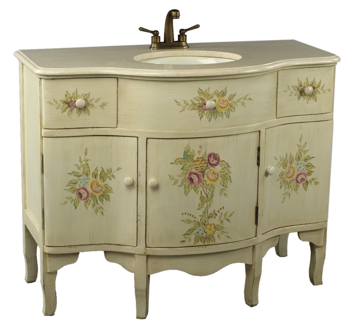 Antique Elements Collection French Style Hand Painted Off White Vanity