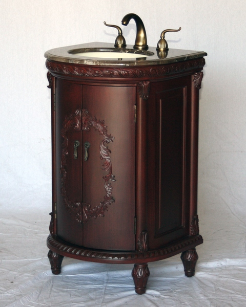 "22"" Adelina Antique Style Cherry Single Sink Bathroom Vanity with Light Brown Stone Top"