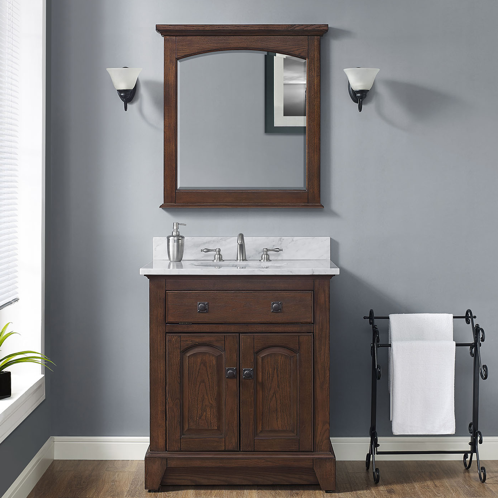 "30"" Traditional Bathroom Vanity - English Chestnut Finish with Top and Mirror Options"