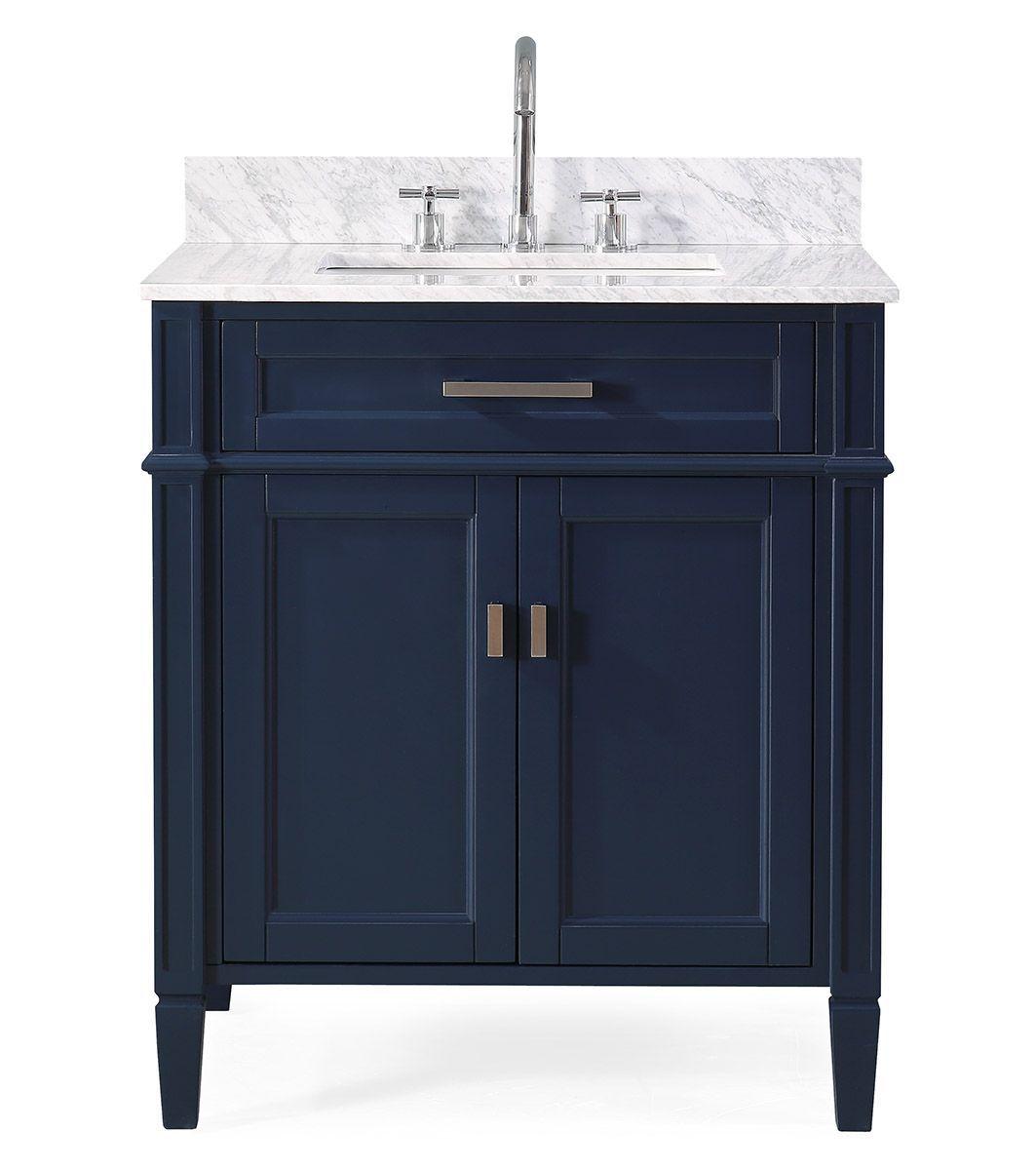 """30"""" Navy Blue Contemporary Single Sink Bathroom Vanity with Italian Carrara Marble Countertop"""