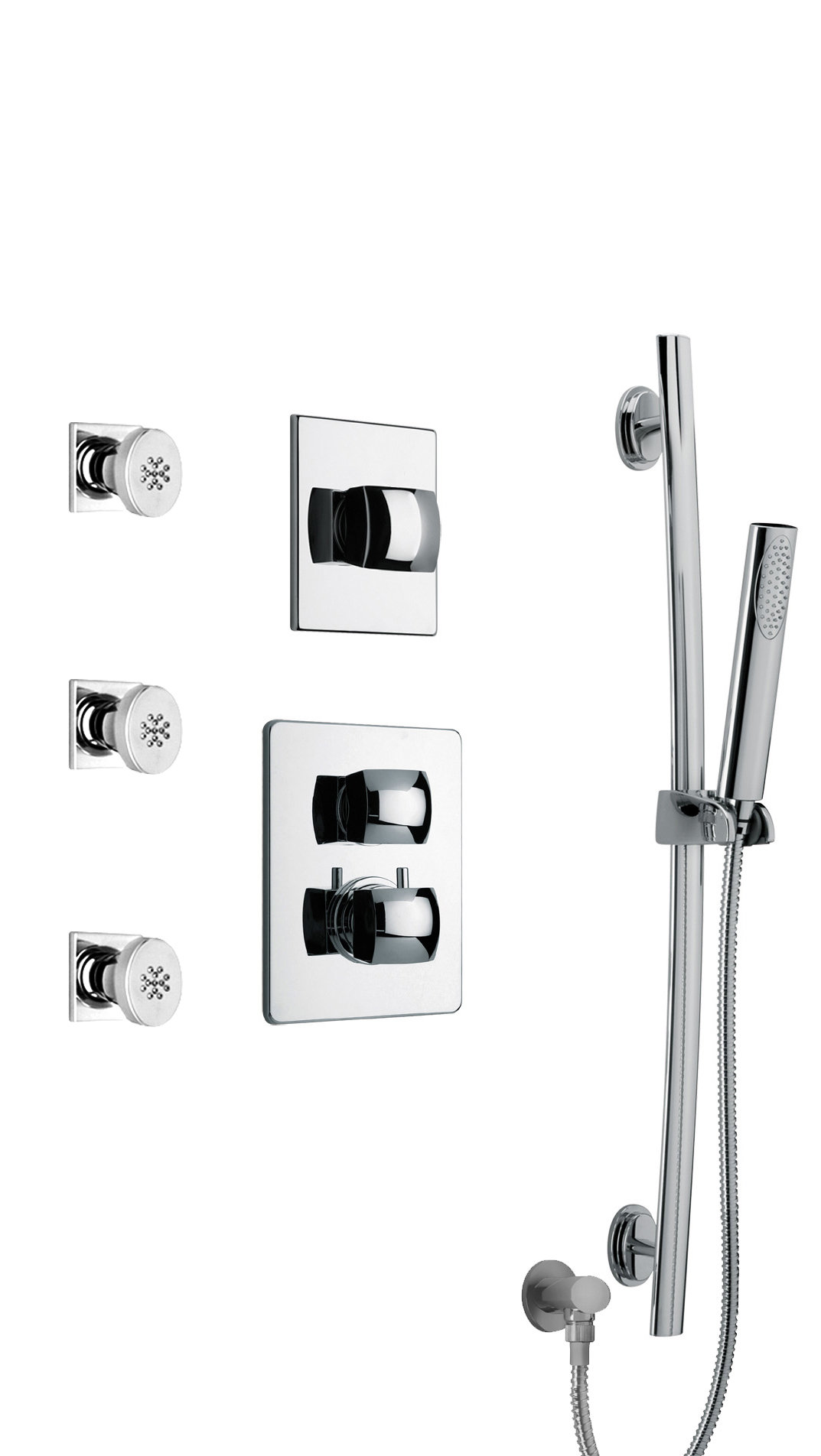"Thermostatic Shower With 3/4"" Ceramic Disc Volume Control, 3-Way Diverter, Slide Bar and 3 Body Jets in Chrome"