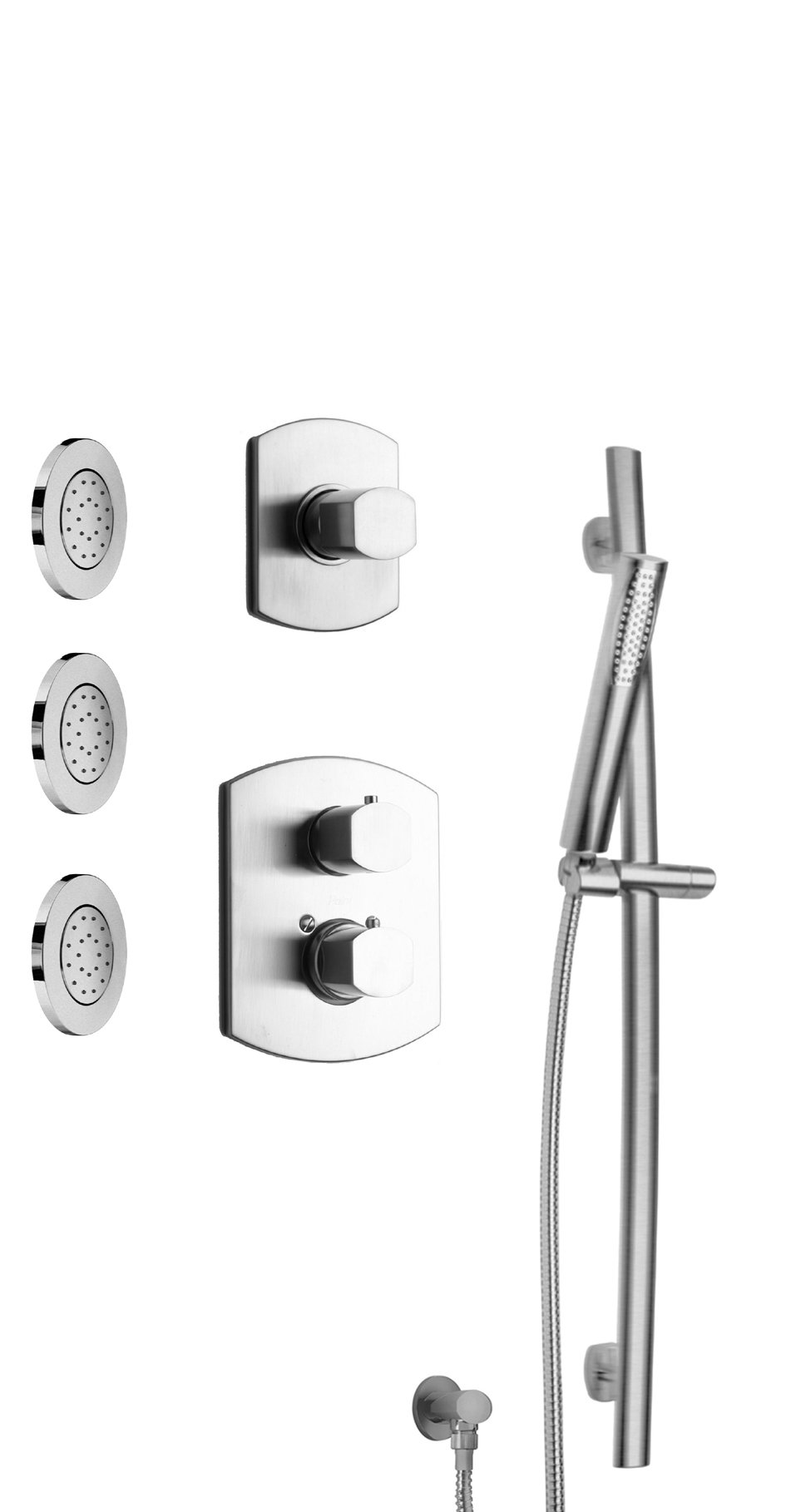 "Thermostatic Shower With 3/4"" Ceramic Disc Volume Control, 3-Way Diverter, Slide Bar and 3 Concealed Body Jets in Chrome Finish"
