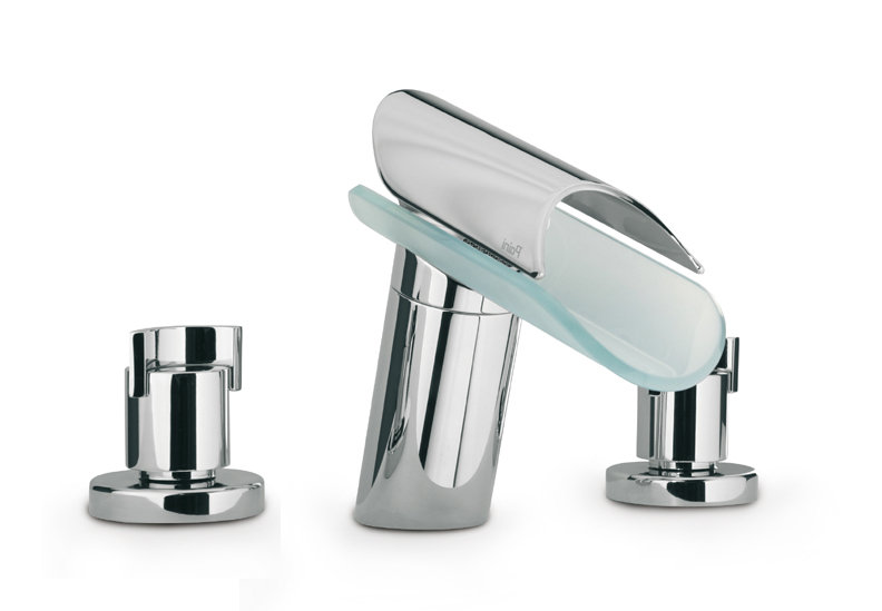 Widespread Lavatory Faucet with Glass Spout in Chrome