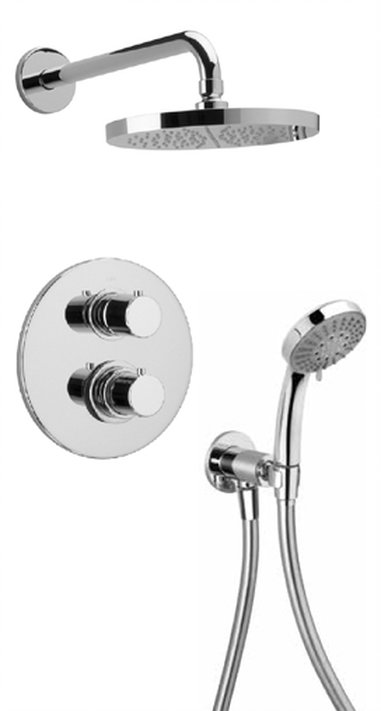 Thermostatic Shower With 2-Way Diverter Volume Control and Hand-Shower with 2 Color Options