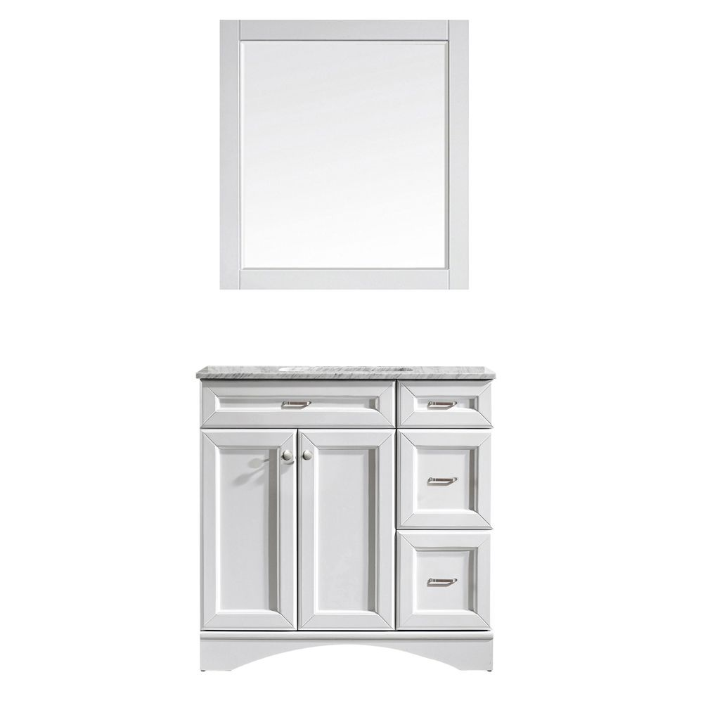 "36"" Vanity in White with Carrara White Marble Countertop With Mirror"