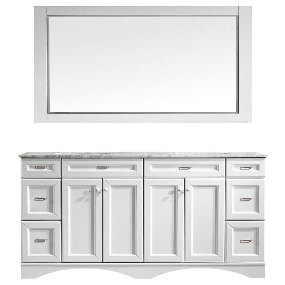 "72"" Vanity in White with Carrara White Marble Countertop With Mirror"