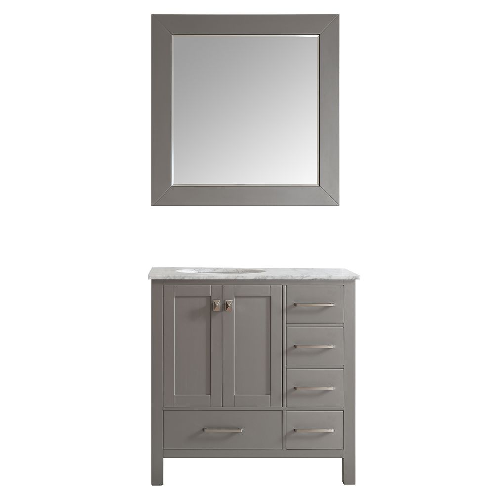 "36"" Single Vanity in Grey with Carrara White Marble Countertop With Mirror"