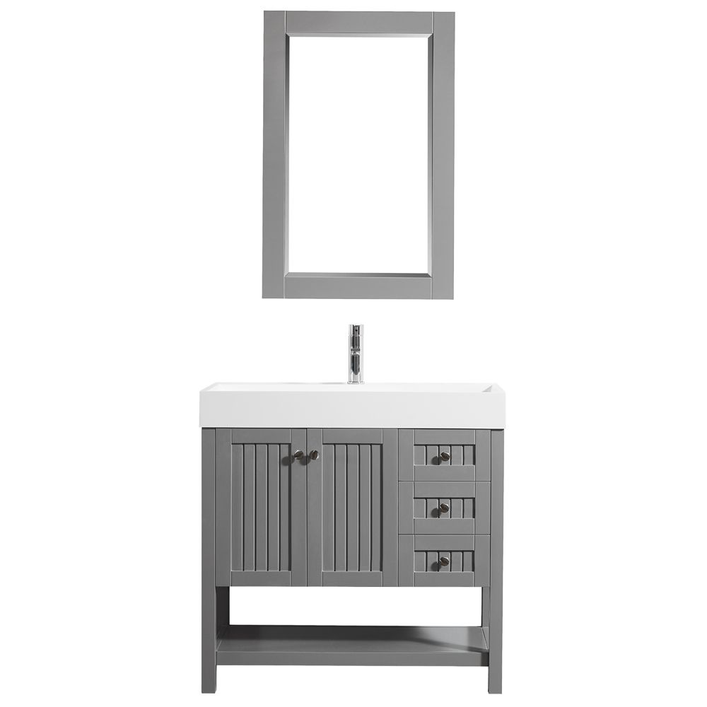 "36"" Single Vanity in Grey with Acrylic under-mount Sink With Mirror"