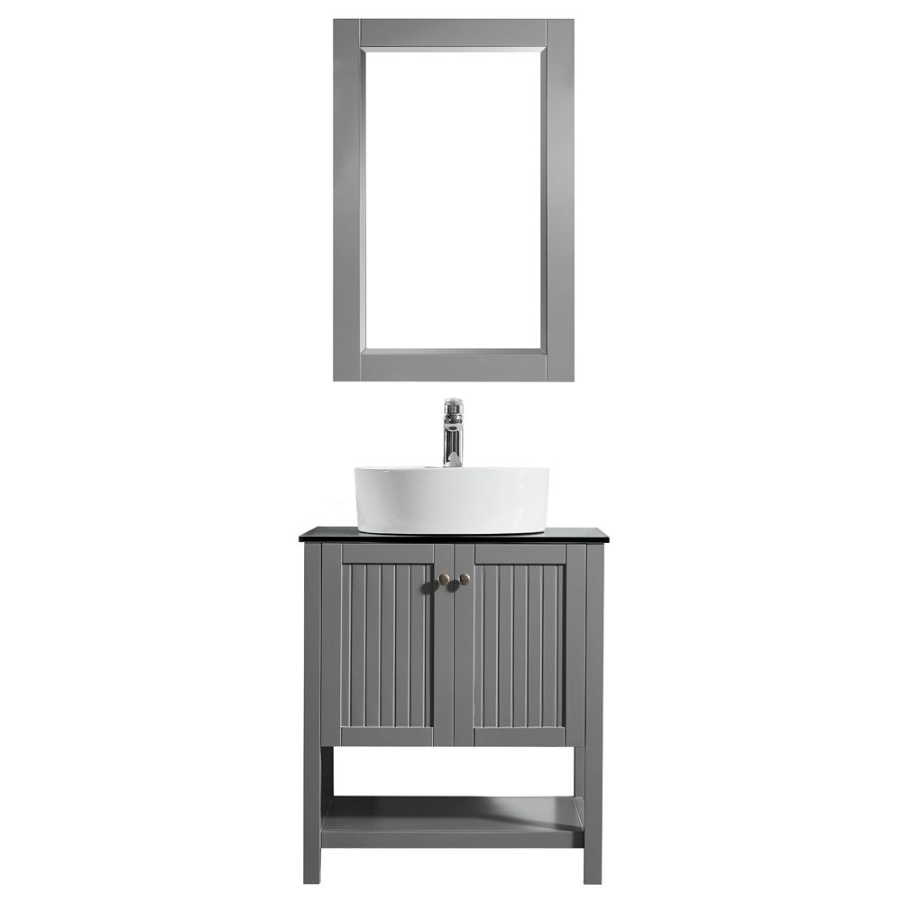 "28"" Vanity in Grey with Glass Countertop with White Vessel Sink With Mirror"
